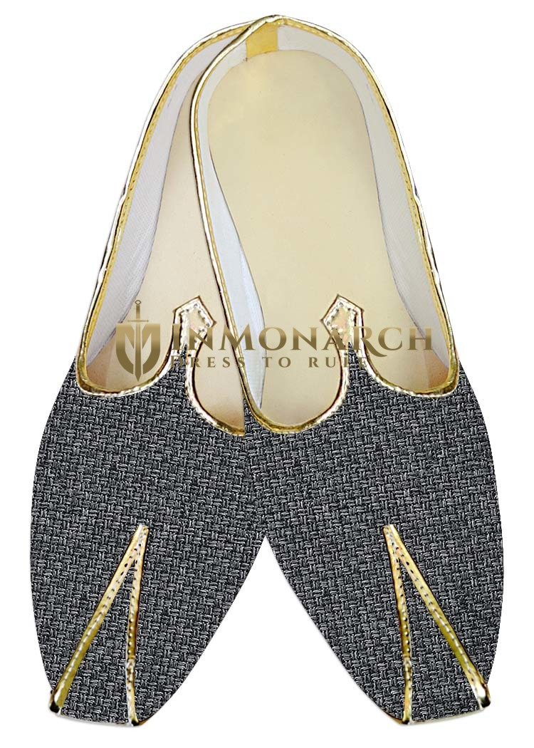 Mens Gray Jute Wedding Shoes Bollywood MJ014219