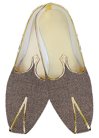 Mens Sherwani Shoes Bronze Jute Wedding Shoes Groomsman