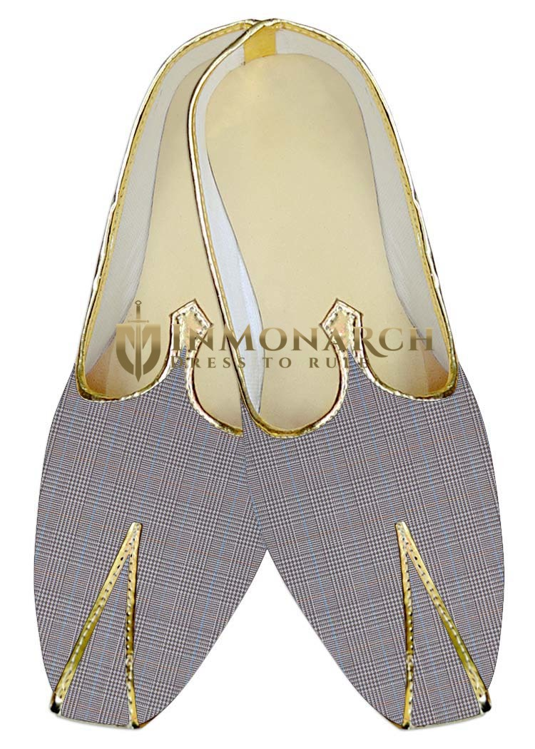 Mens Sherwani Shoes Lavender Wedding Shoes Checks Juti ForMen