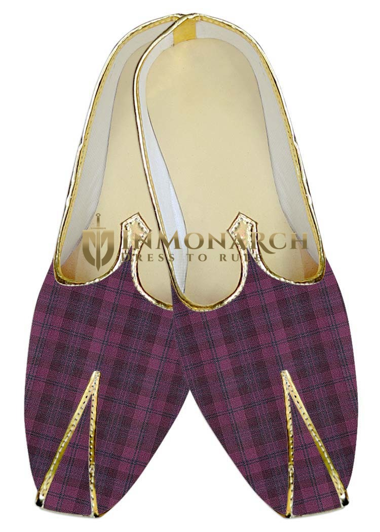 Mens Sherwani Shoes Pink Checks Juti For Men Wedding Shoes