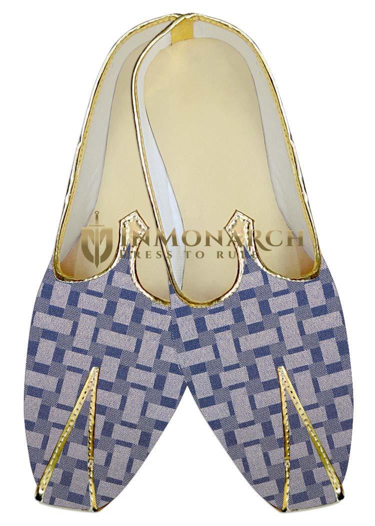 Mens Indian BridalShoes Lavender Checks Wedding Footwear