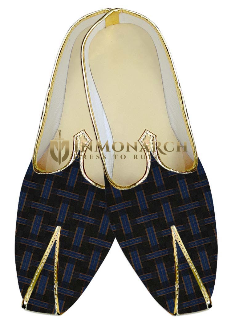 Indian Wedding Shoes For Men Black and Blue Checks Wedding Shoes