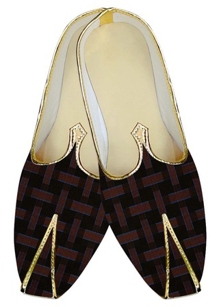 Indian Wedding Shoes For Men Black and Red Checks Wedding Shoes