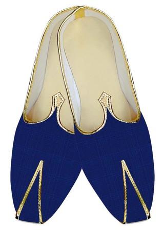 Indian MensShoes Blue Checks Wedding Mojari Handmade