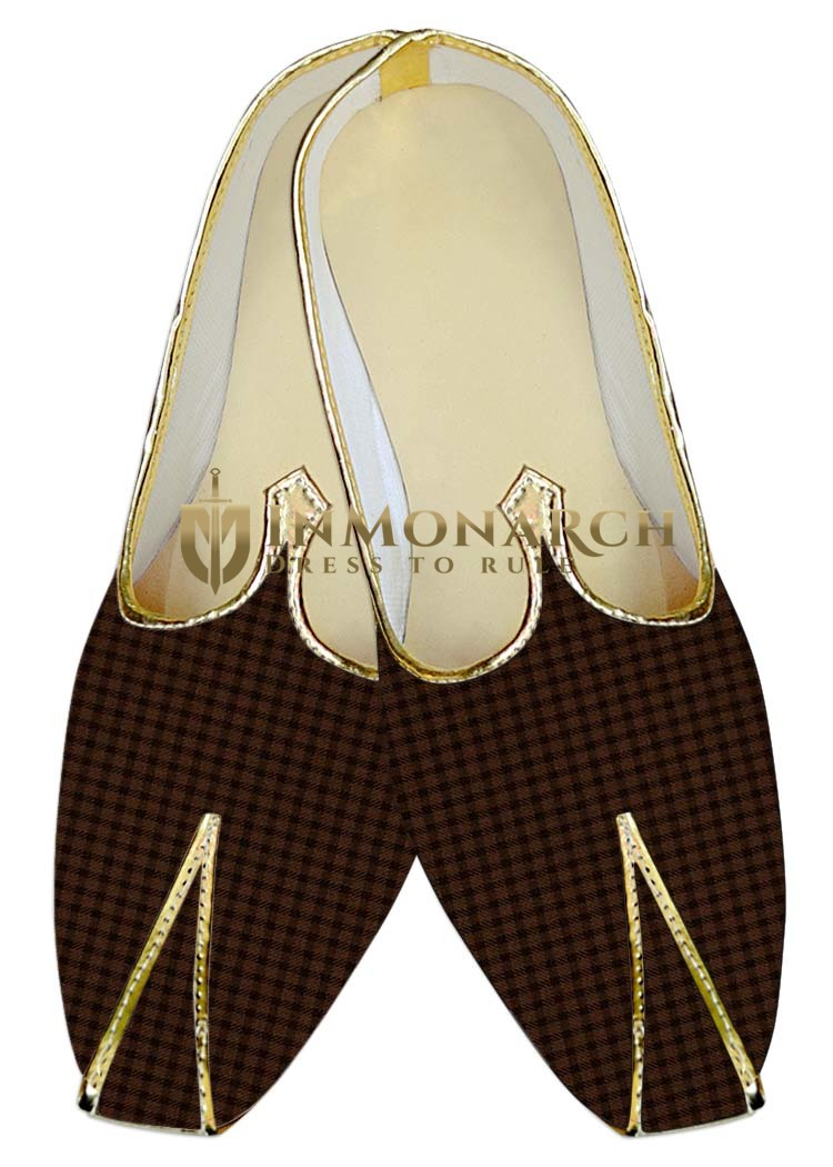 Traditional Shoes For Men Brown Checks Wedding Shoes Ethnic
