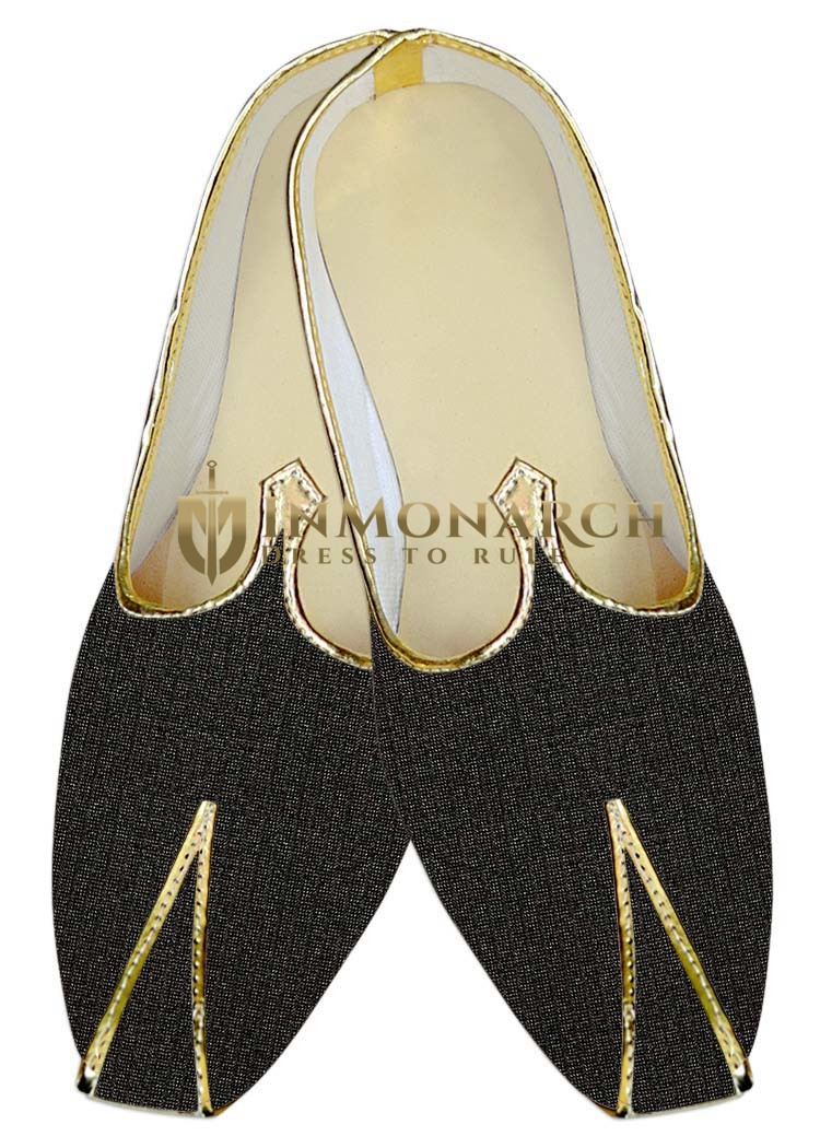 Mens Indian BridalShoes Dark Gray Wedding Shoes Bridegroom
