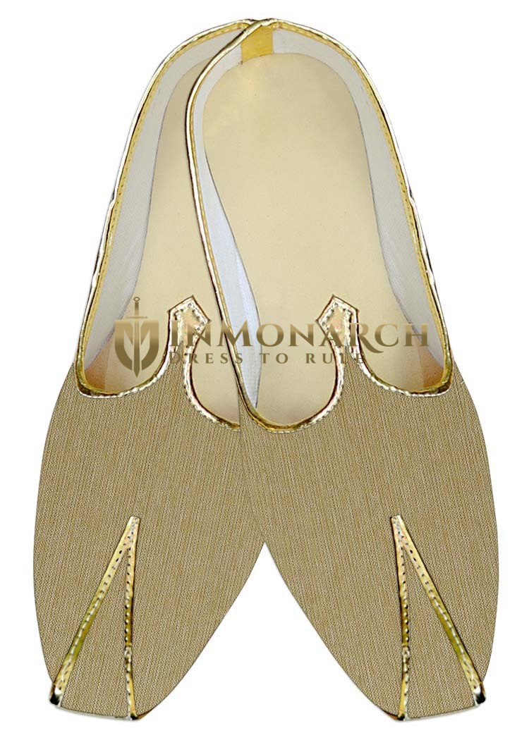 Mens Sherwani Shoes Golden Jute Wedding Shoes Juti For Men
