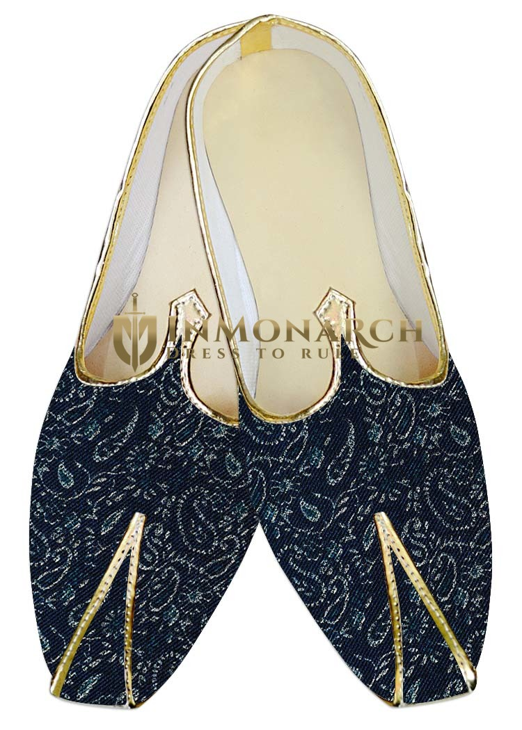 Mens Juti Navy Blue Jute Wedding Shoes Sherwani Shoes