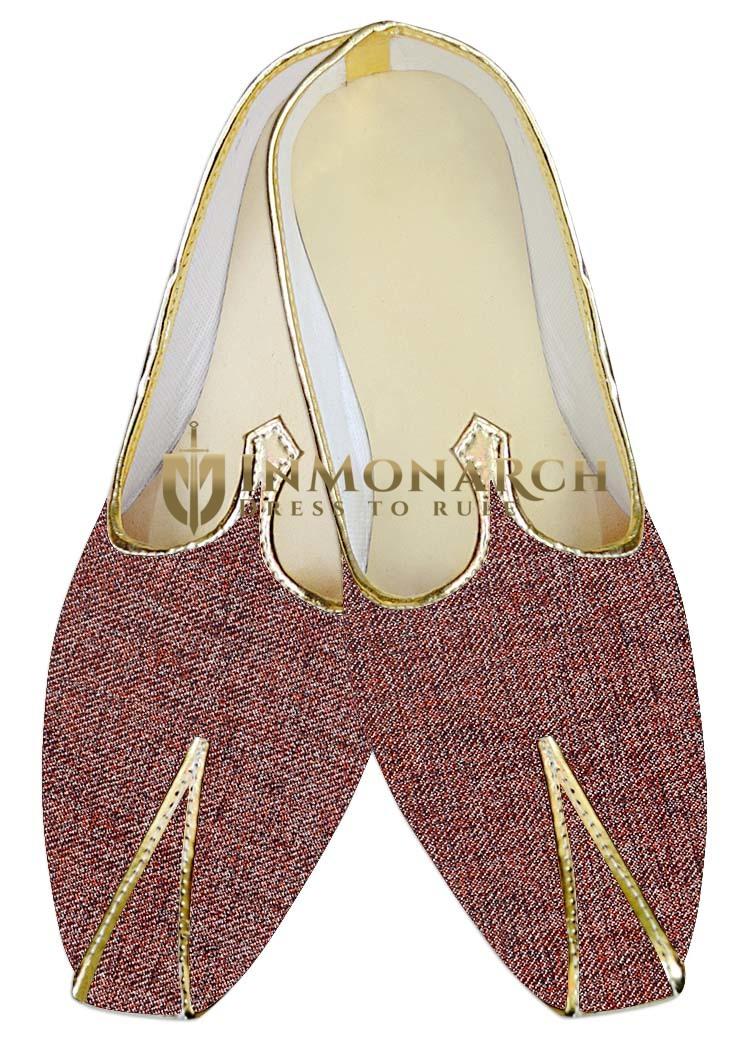Mens Burgundy Jute Polyester Wedding Shoes MJ015376
