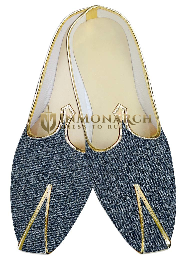 Mens Sherwani Shoes Steel Blue Jute Juti Wedding Shoes