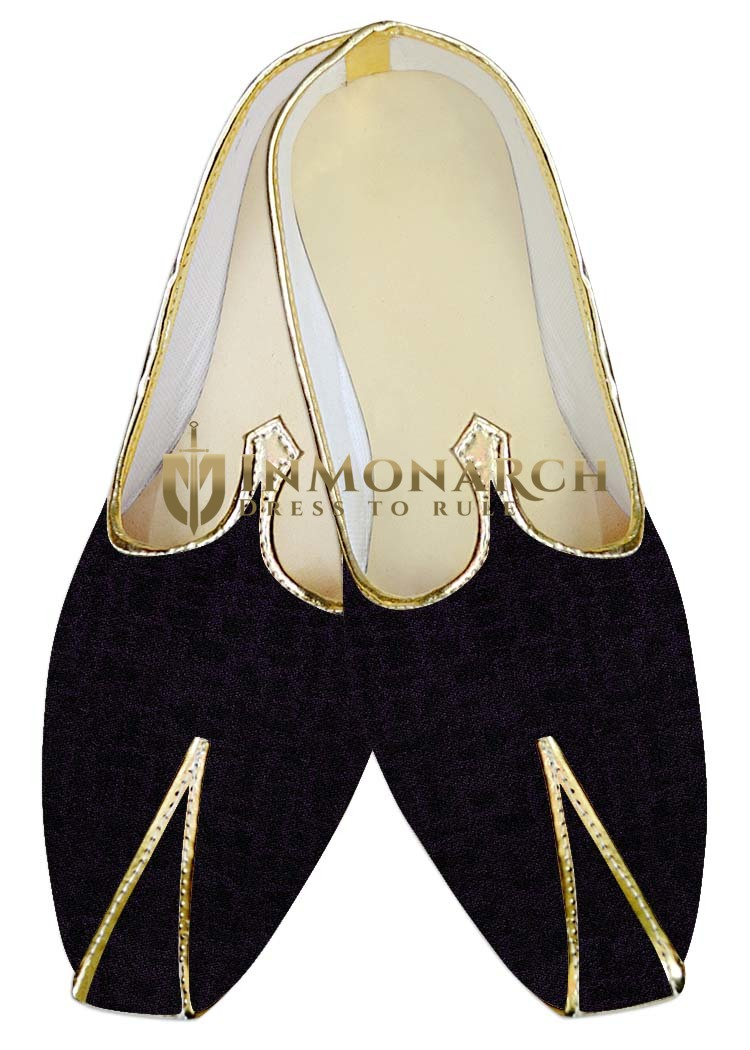 Indian WeddingShoes For Men Purple Wine and Black Wedding Shoes