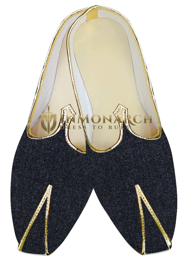 Mens Sherwani Shoes Dark Navy Wedding Shoes Handmade