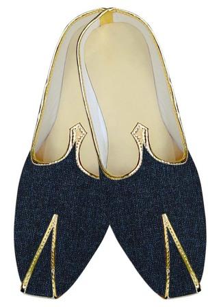 Mens Juti Denim Blue Wedding Shoes Ethnic Sherwani Shoes