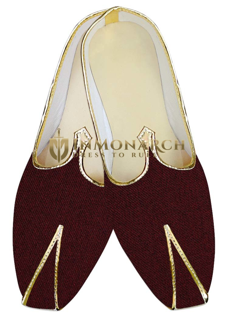 Mens Juti Wine Jute Wedding Shoes Traditional Shoes For Men