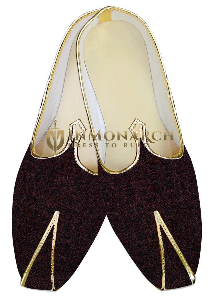 Indian Mens Shoes Wine and Black Wedding Shoes Partywear