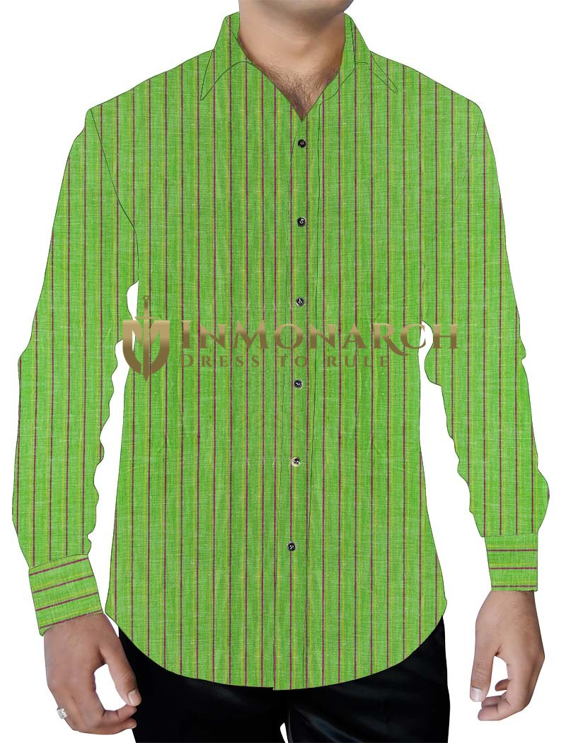 Mens Light Green with Purple Lining Cotton Shirt