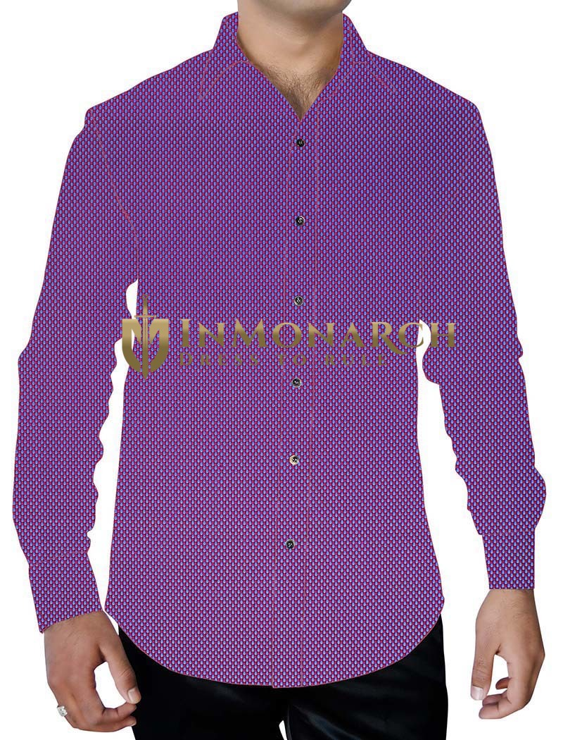 Mens Magenta Button Down Full Sleeve Shirt