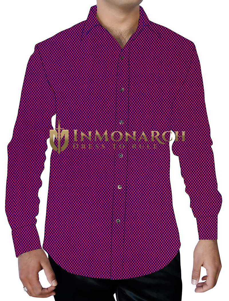 Mens Purple Button Down Full Sleeve Shirt