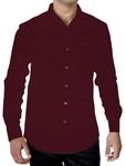 Mens Wine Cotton Shirt Full Sleeve Button Down