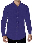 Mens Blue Cotton Shirt Casual Full Sleeve