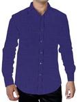 Mens Blue Cotton Shirt Casual Full Sleeve