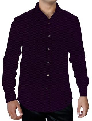 Mens Purple Wine Cotton Shirt Casual Button Down