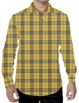 Mens Yellow Cotton Tattersall Checks Shirt Button Down