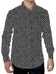 Mens Black Cotton Printed Collar Shirt Regular Fit