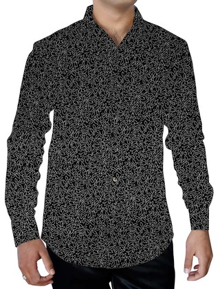 Mens Black Summer Cotton Printed Shirt Down Button