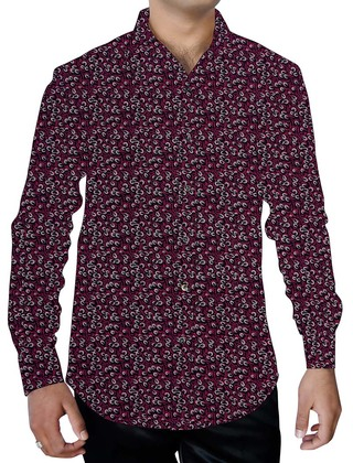 Mens Magenta Summer Cotton Printed Shirt Down Button