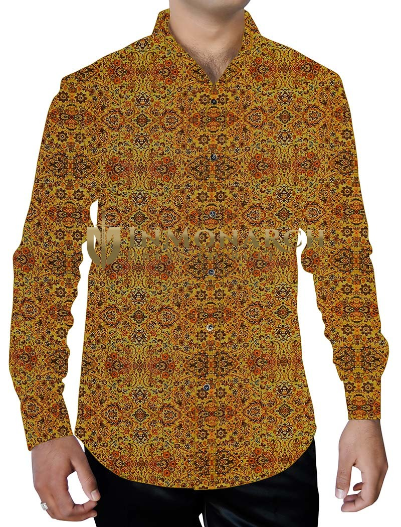 Mens Yellow Summer Cotton Printed Shirt Down Button