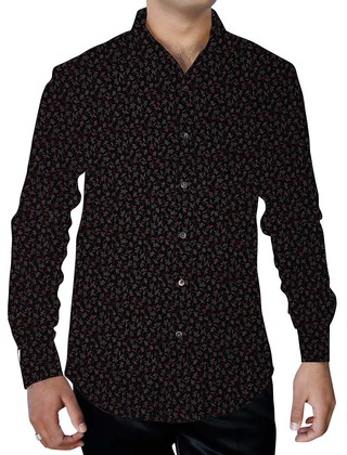 Mens Black Cotton Printed Summer Shirt Hawaiian Style