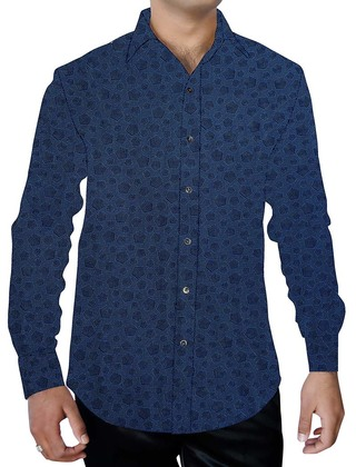 Mens Dark-navy Cotton Printed Shirt Hawaiian Style Summer