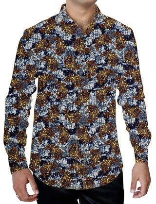 Mens White Hawaiian Flower Design Cotton Printed Shirt