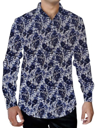 Mens White Flower Design Cotton Printed Shirt Button Down