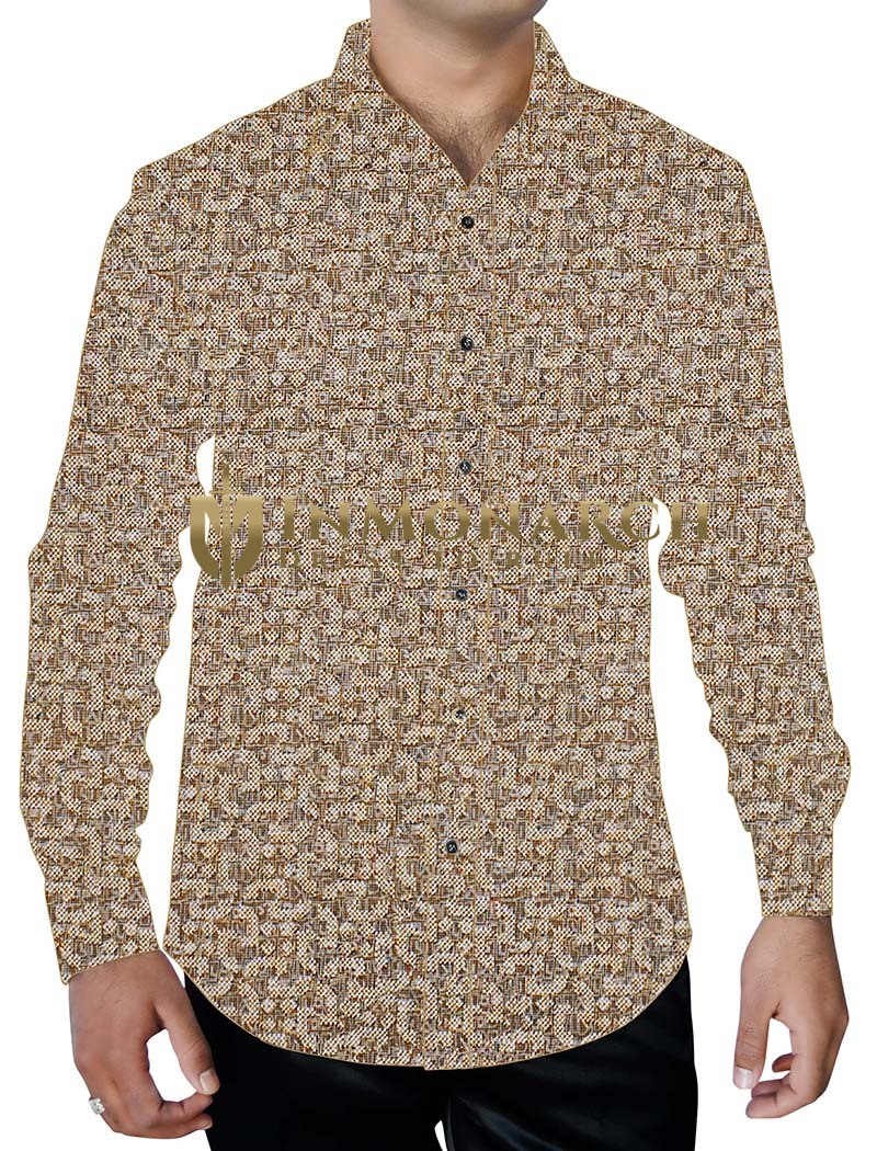 Mens Beige Cotton Printed Shirt Geometric Design