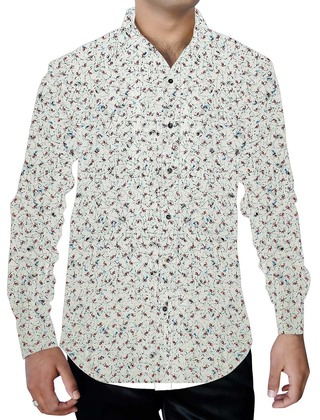 Mens White Cotton Printed Shirt Summer New Design