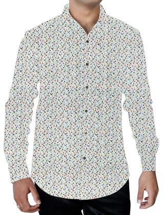 Mens White Cotton Printed Shirt Polka Dot Hawaiian