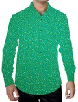 Mens Green Cotton Printed Shirt Polka Regular Fit