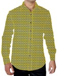 Mens Yellow Casual Printed Shirt Button Down Hawaiian