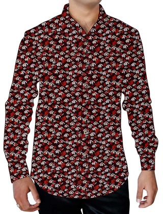 Mens Wine Hawaiian Printed Shirt Button Down Casual