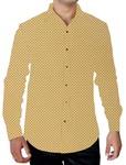Mens Yellow Polka Printed Shirt Long Sleeve Button Down