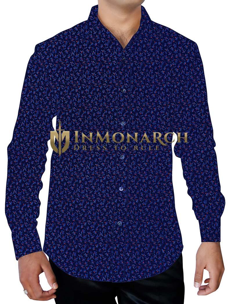 Mens Navy-blue Printed Shirt Regular Fit Button Down