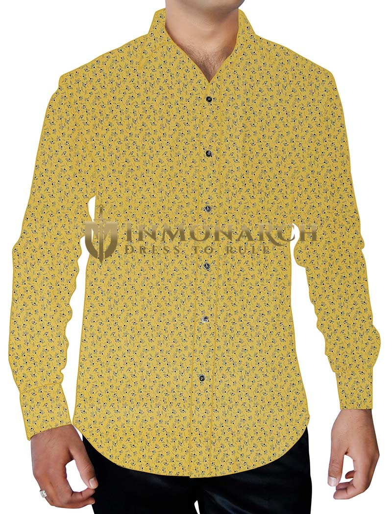 Mens Yellow Flower Printed Shirt Beach Party Holiday