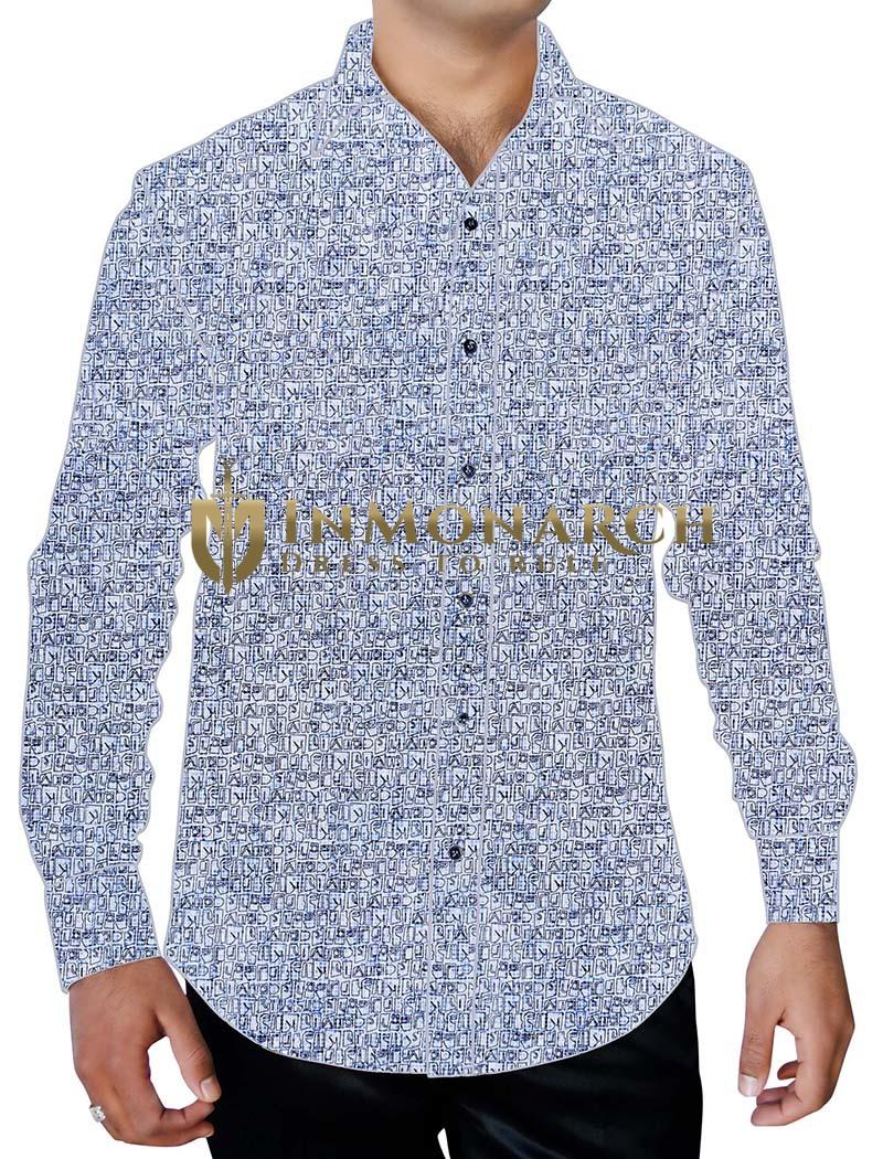 Mens Lavender Beach Party Flower Printed Shirt Long Sleeve