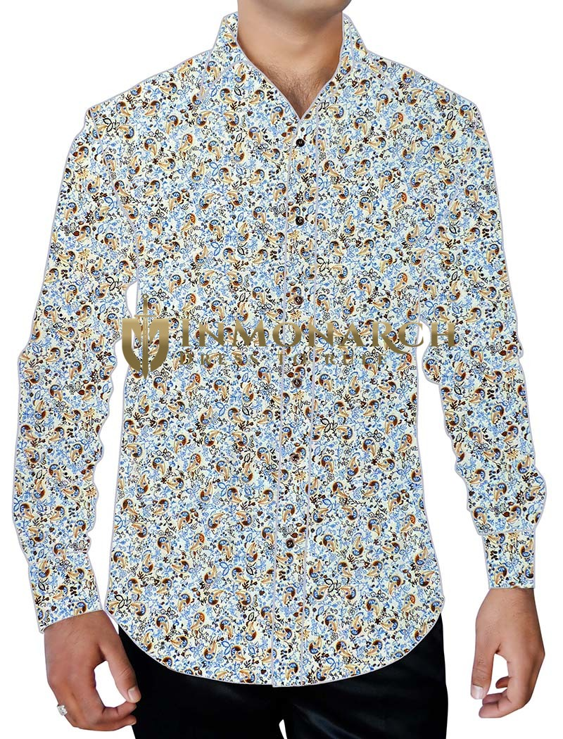 Mens White Paisley Printed Shirt Long Sleeve Button Down