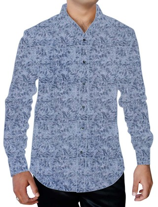 Mens Sky-blue Printed Shirt Button Down Beachwear