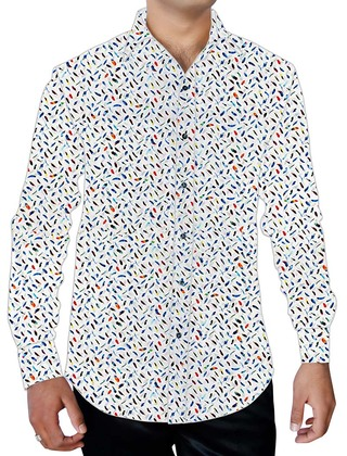 Mens White Button Down Beachwear Printed Shirt