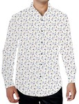 Mens White Printed Long Sleeves Shirt Button Down