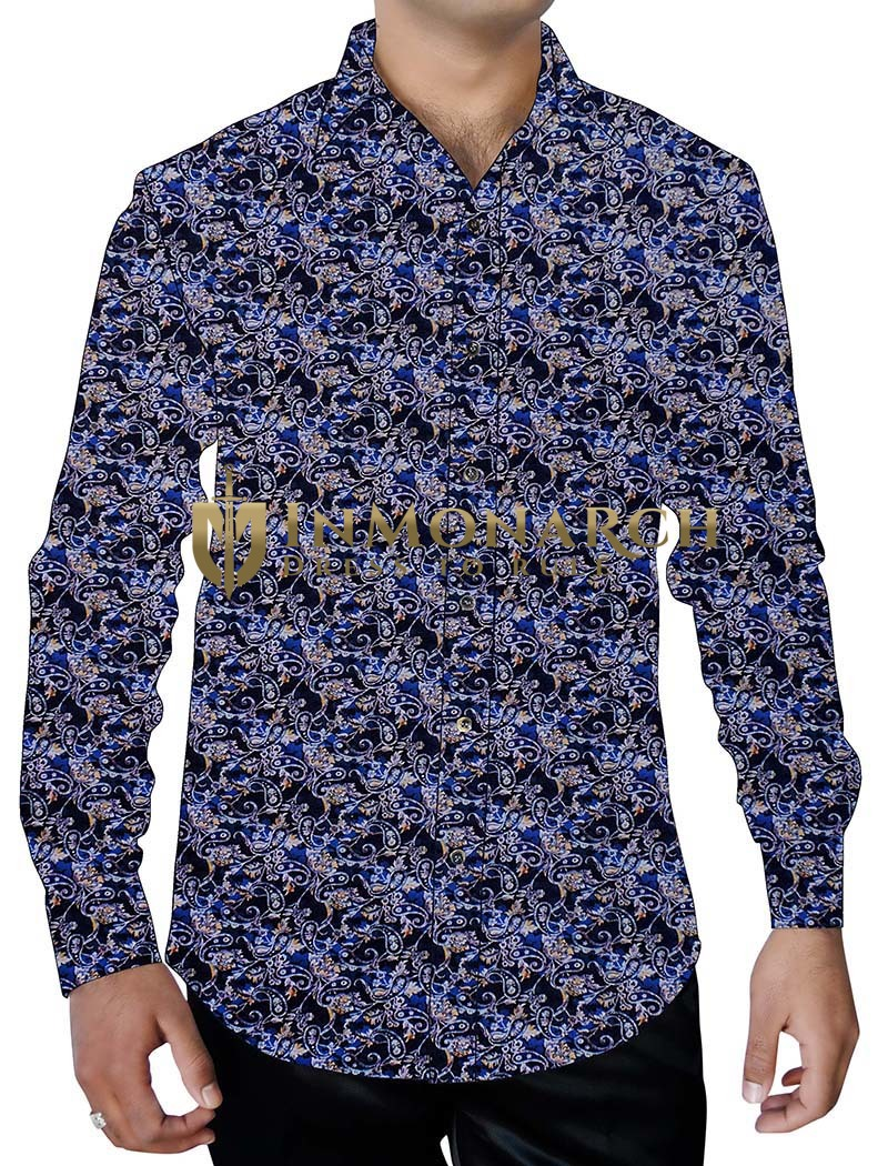 Mens Royal Blue Printed Casual Shirt Long Sleeves Paisley Pattern